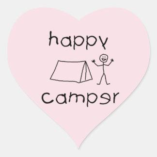 Happy Camper (wht) Heart Sticker