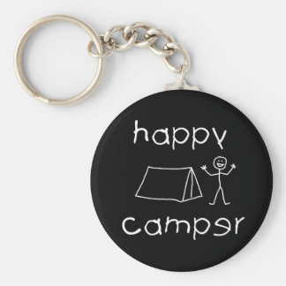 Happy Camper (wht) Keychain
