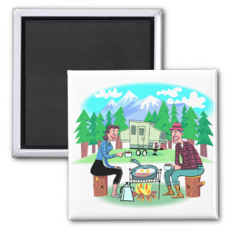 Happy Campers 2 Inch Square Magnet