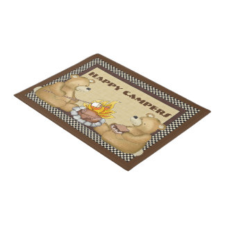 Happy campers bears fun doormat