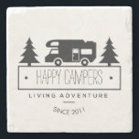 "Happy Campers | Camping RVs RVers RVing Retired Stone Coaster<br><div class=""desc"">Cute home decor or for on the road with your RV is this funny camping stone coaster featuring a classic vintage motorhome silhouette surrounded by pine trees. Reads HAPPY CAMPERS in black below in whimsical letters. Or add last name or any custom text. Reads LIVING ADVENTURE below that and SINCE...</div>"