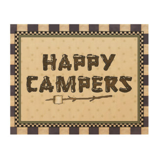 Happy Campers cartoon wood canvs Wood Wall Art