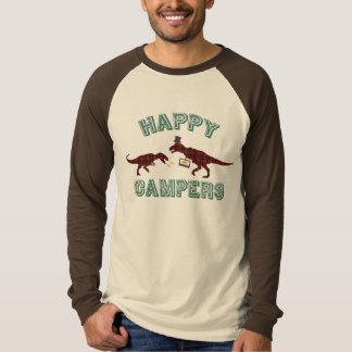 Happy Campers Dancing Mix-Tape Plaid Dinosaurs T-Shirt