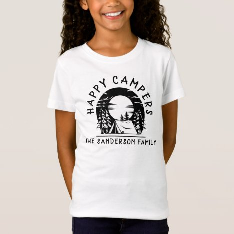 Happy Campers Family Name Camping Trip Black White T-Shirt