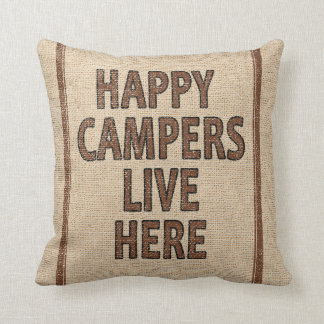 Happy Campers Flour Sack Throw Pillow