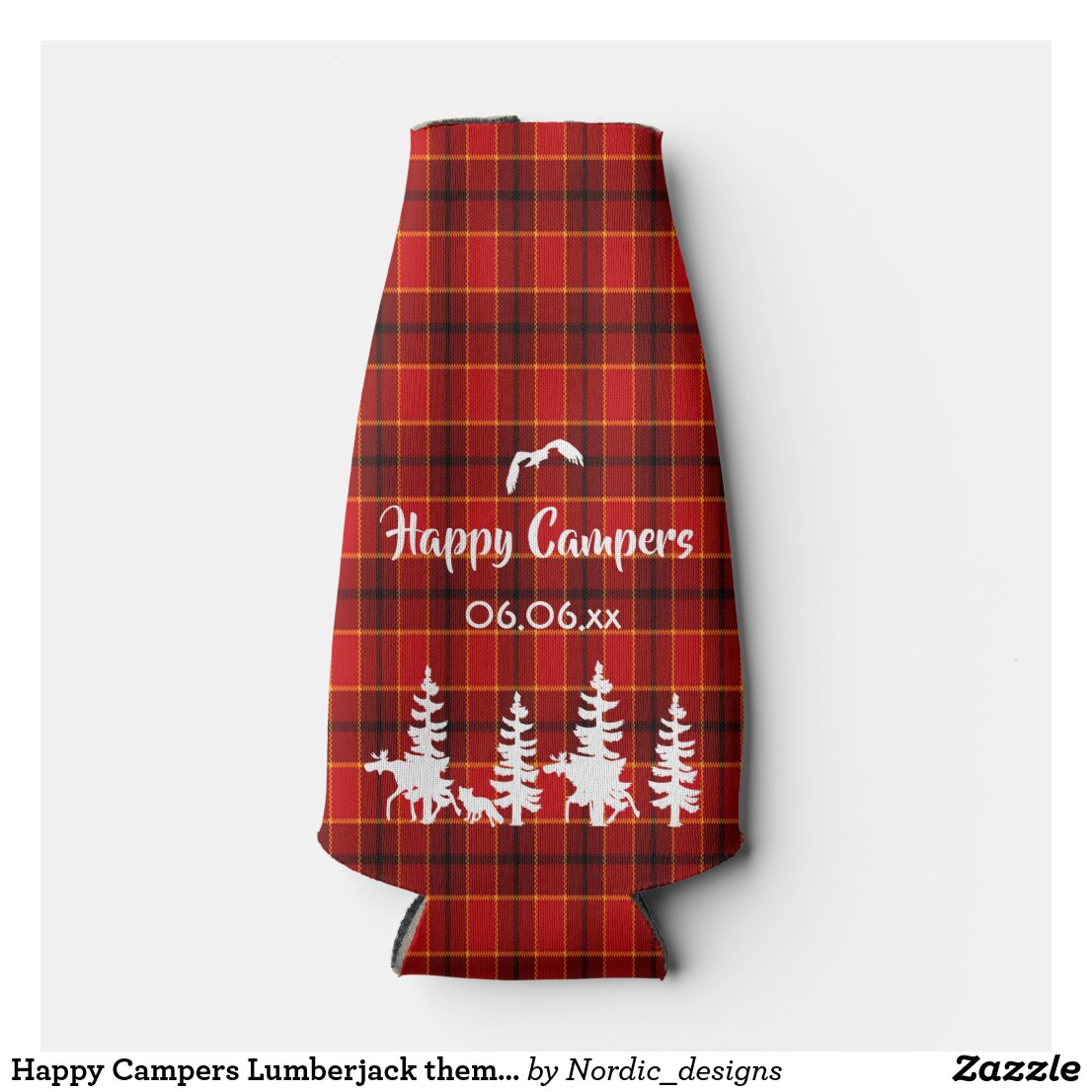 Happy Campers Lumberjack theme red plaid pattern