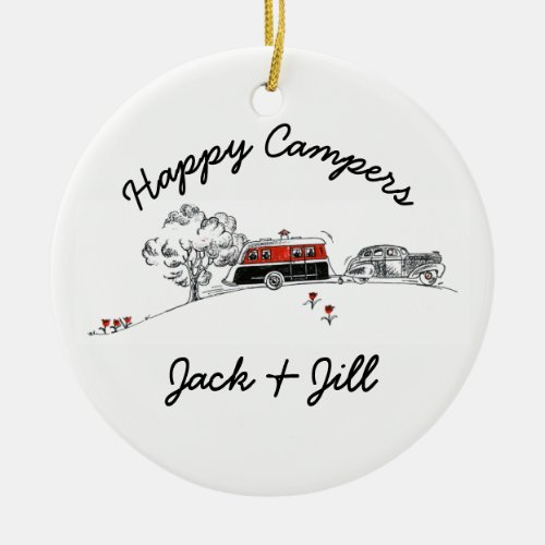 Happy Campers Personalized  Vintage RV Camper Car Ceramic Ornament
