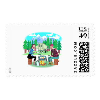 Happy Campers Postage Stamp
