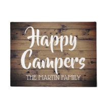 Happy Campers Rustic Barn Wood Personalized Doormat