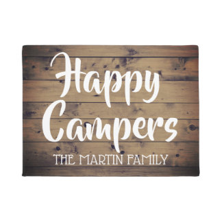 Happy Campers Rustic Barn Wood Personalized Doormat