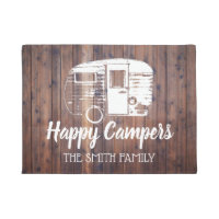 Happy Campers Rustic Camping Trailer Family Name Doormat