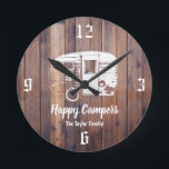 "Happy Campers Rustic Camping Trailer Family Name Round Clock<br><div class=""desc"">Happy Campers Rustic Camping Trailer Family Name Clocks.</div>"