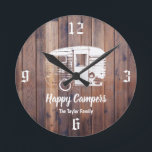 """Happy Campers Rustic Camping Trailer Family Name Round Clock<br><div class=""""desc"""">Happy Campers Rustic Camping Trailer Family Name Clocks.</div>"""