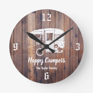Happy Campers Rustic Camping Trailer Family Name Round Clock