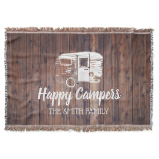 Happy Campers Rustic Camping Trailer Family Name Throw