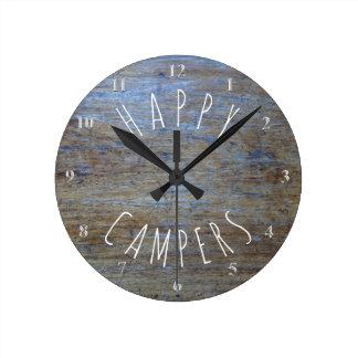 Happy Campers Rustic Wood | Camping Retirement Fun Round Clock