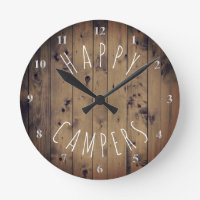 Happy Campers Rustic Wood   Retirement RV Camping Round Clock