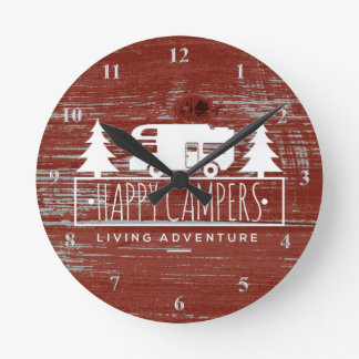 Happy Campers RV Camping   Red Rustic Barn Wood Round Clock