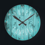 "Happy Campers Turquoise Wood Retirement RV Camping Round Clock<br><div class=""desc"">Rustic turquoise, camping theme clock reads &#39;Happy Campers&#39; in white, whimsical, handwritten look. With rustic, distressed teal turquoise barnwood planks woodgrain pattern background, or weathered, aqua beach wood, complete with knotholes, and darkened around the edges. Silver look clock face numbers. Note: All images are printed. Not actual wood. Unique, gift...</div>"