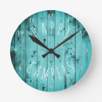 Happy Campers Turquoise Wood Retirement RV Camping Round Clock
