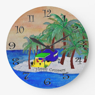 happy campers wall clock