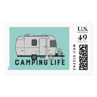 Happy camping life with cute Frenchies Postage
