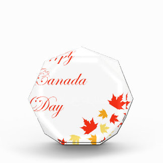 Happy Canada Day card with maple leaves Acrylic Award