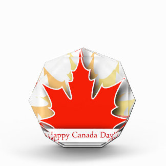 Happy Canada Day card with maple leaves Award
