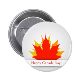 Happy Canada Day card with maple leaves Button