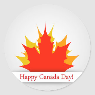 Happy Canada Day card with maple leaves Classic Round Sticker