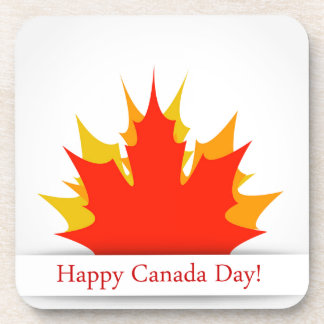 Happy Canada Day card with maple leaves Coaster