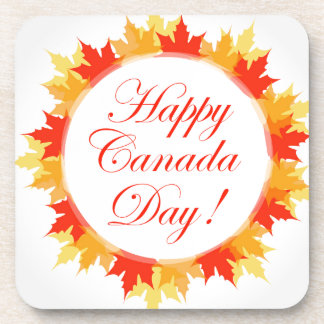 Happy Canada Day card with maple leaves Drink Coaster
