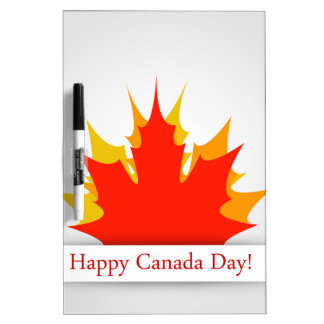 Happy Canada Day card with maple leaves Dry Erase Board