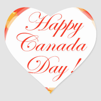 Happy Canada Day card with maple leaves Heart Sticker