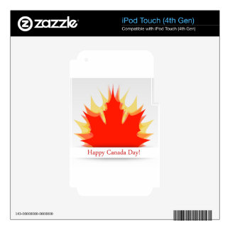 Happy Canada Day card with maple leaves iPod Touch 4G Decals