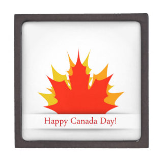 Happy Canada Day card with maple leaves Jewelry Box