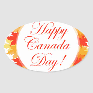 Happy Canada Day card with maple leaves Oval Sticker