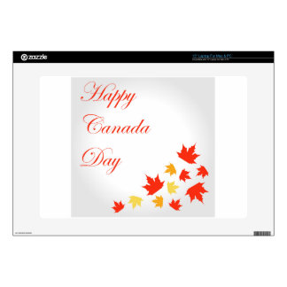 """Happy Canada Day card with maple leaves Skin For 15"""" Laptop"""