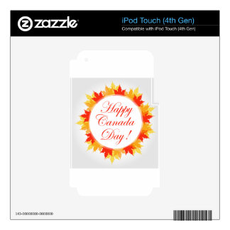 Happy Canada Day card with maple leaves Skin For iPod Touch 4G