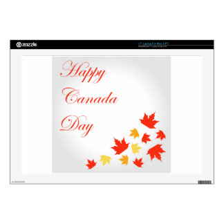 Happy Canada Day card with maple leaves Skins For Laptops