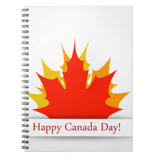 Happy Canada Day card with maple leaves Spiral Notebook