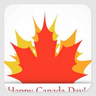 Happy Canada Day card with maple leaves Square Sticker