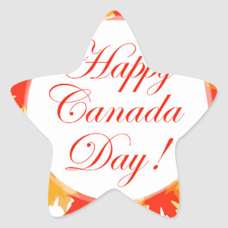 Happy Canada Day card with maple leaves Star Sticker