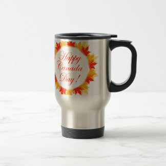 Happy Canada Day card with maple leaves Travel Mug