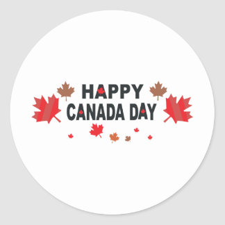 Happy Canada Day Classic Round Sticker