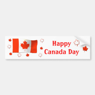 Happy Canada Day Flag and Maple Leaves Bumper Sticker