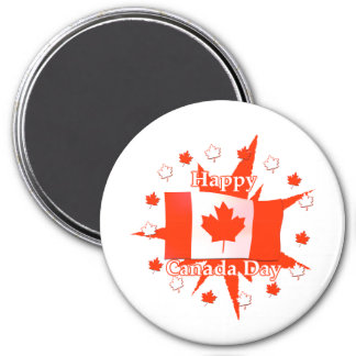 Happy Canada Day Flag Design 3 Inch Round Magnet