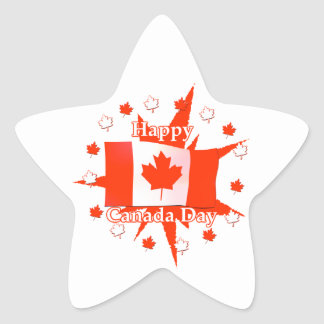 Happy Canada Day Flag Design Star Stickers