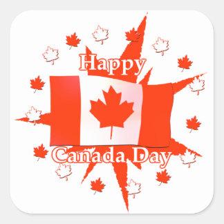 Happy Canada Day Flag Design Square Stickers
