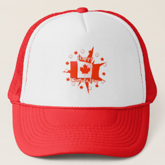 Happy Canada Day Flag Design Trucker Hat